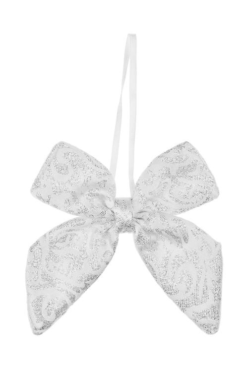 Украшение декоративное БантикДекоративные гирлянды и подвески<br>10*13см, текстиль, серебр.-белое, подвесное<br>
