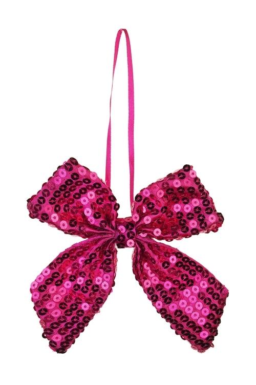 Украшение декоративное БантикСувениры и упаковка<br>10*13см, текстиль, малин., подвесное<br>