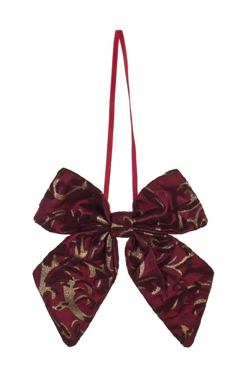 Украшение декоративное БантикСувениры и упаковка<br>10*13см, текстиль, борд.-золот., подвесное<br>