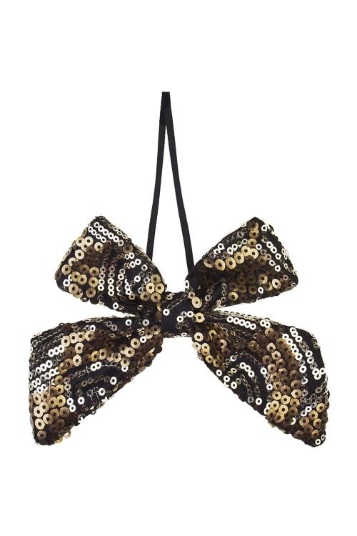 Украшение декоративное БантикДекоративные гирлянды и подвески<br>10*13см, текстиль, черно-золот., подвесное<br>