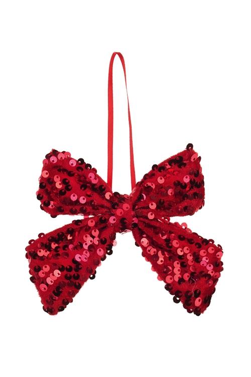 Украшение декоративное БантикСувениры и упаковка<br>10*13см, текстиль, красное, подвесное<br>