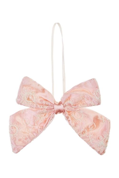 Украшение декоративное БантикСувениры и упаковка<br>10*13см, текстиль, тепло-розовое, подвесное<br>