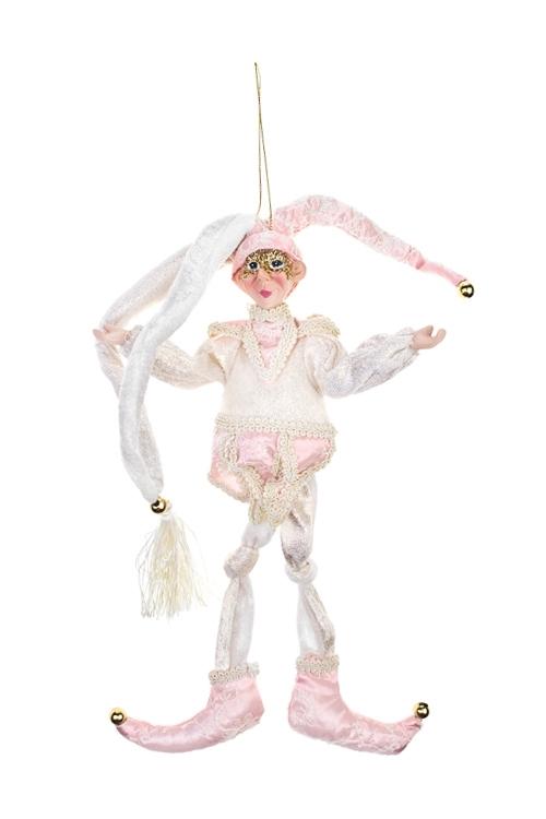 Украшение для интерьера ЭльфИгрушки и куклы<br>Выс=30см, текстиль, полирезин, розово-золот., подвесное<br>