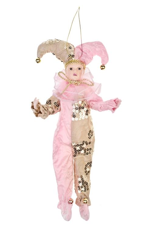 Украшение для интерьера АрлекиноИгрушки и куклы<br>Выс=35см, текстиль, полирезин, розово-золот., подвесное<br>