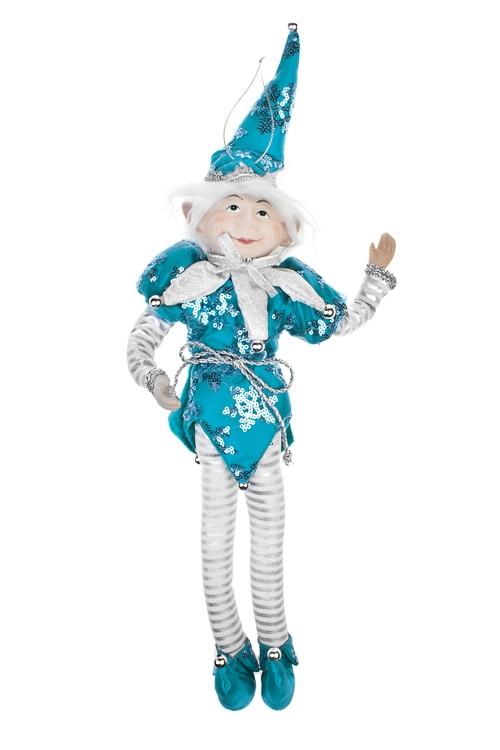 Украшение для интерьера Волшебный АрлекинИгрушки и куклы<br>Выс=35см, текстиль, фарфор, бело-серебр.-бирюз, подвесной<br>