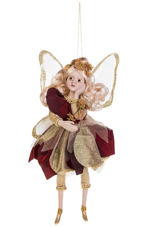 Украшение для интерьера Цветочная феяИгрушки и куклы<br>Выс=31см, полирезин, текстиль, борд.-золот., подвесное<br>
