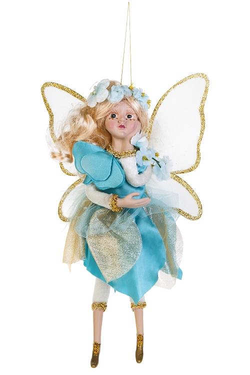 Украшение для интерьера Цветочная феяИгрушки и куклы<br>Выс=31см, полирезин, текстиль, крем.-золот.-голуб., подвесное<br>