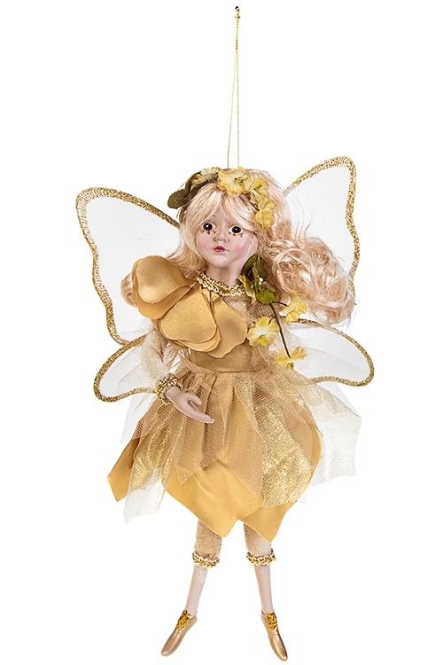 Украшение для интерьера Цветочная феяИгрушки и куклы<br>Выс=31см, полирезин, текстиль, золот., подвесное<br>