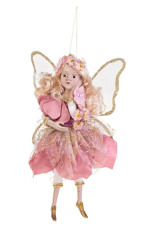 Украшение для интерьера Цветочная феяИгрушки и куклы<br>Выс=31см, полирезин, текстиль, розово-крем.-золот., подвесное<br>