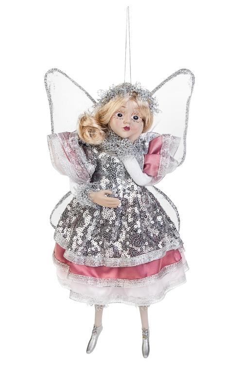 Украшение для интерьера Мечтающая феяИгрушки и куклы<br>Выс=31см, полирезин, текстиль, пепельно-розово-серебр.<br>