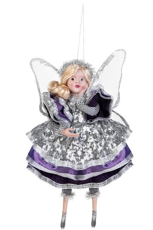 Украшение для интерьера Мечтающая феяИгрушки и куклы<br>Выс=31см, полирезин, текстиль, сирен.-фиолет.-серебр.<br>
