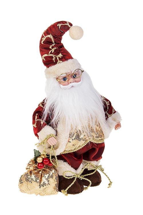 Украшение новогоднее музыкально-двигающееся Дед Мороз с мешком подарковРождественские украшения<br>Выс=36см, пластм., текстиль, борд.-золот.<br>