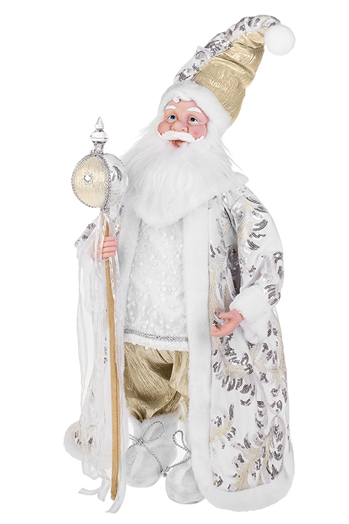 Украшение новогоднее музыкально-двигающееся Дед Мороз с посохомРождественские украшения<br>Выс=66см, текстиль, пластм., бело-серебр.-золот.<br>