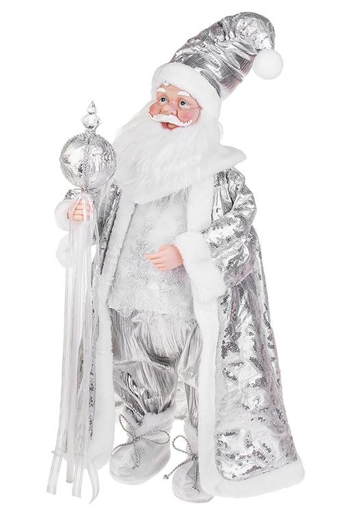 Украшение новогоднее музыкально-двигающееся Дед Мороз с посохомПодарки на Новый год 2018<br>Выс=66см, текстиль, пластм., бело-серебр.<br>