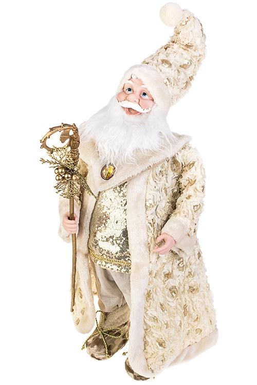 Украшение новогоднее музыкально-двигающееся Дед Мороз с посохомРождественские украшения<br>Выс=66см, текстиль, пластм., крем.-золот.<br>
