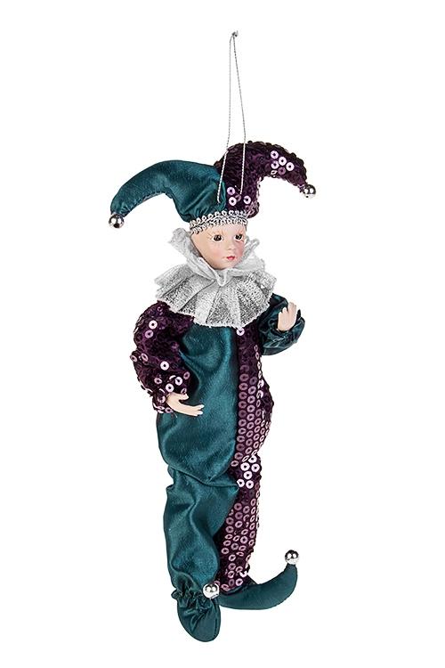 Украшение для интерьера АрлекиноИгрушки и куклы<br>Выс=35см, текстиль, полирезин, изумруд.-фиолет.-серебр., подвесное<br>