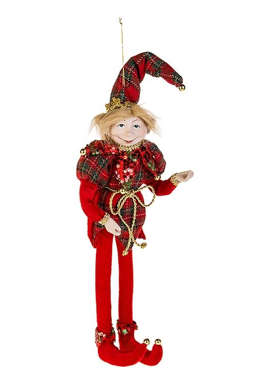 Украшение для интерьера Волшебный АрлекинИгрушки и куклы<br>Выс=40см, текстиль, полирезин, красно-зеленое, подвесное<br>
