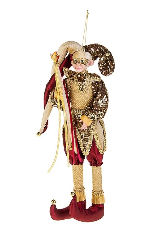 Украшение интерьерное Веселый Арлекин с жезломИгрушки и куклы<br>Выс=35см, текстиль, полирезин, борд.-зол.-корич., подвес.<br>