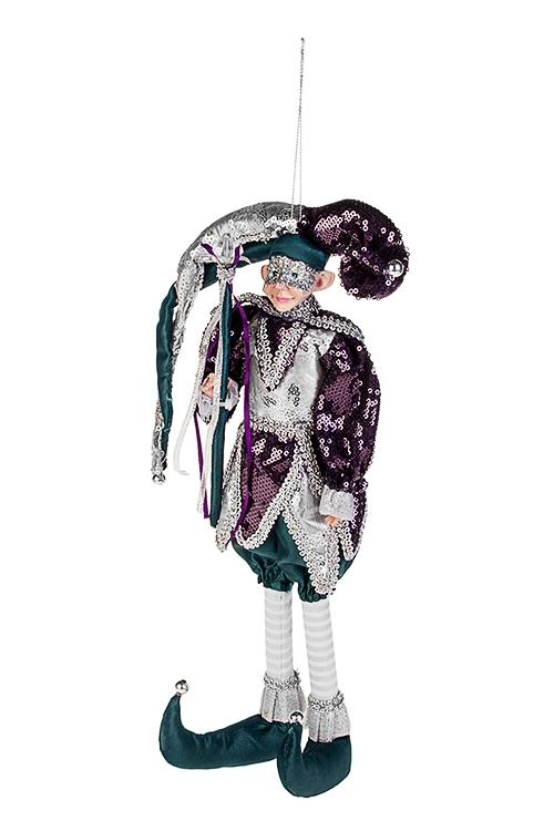 Украшение интерьерное Веселый Арлекин с жезломИгрушки и куклы<br>Выс=35м, текстиль, полирезин, фиол.-изумр.-сер, подвес<br>