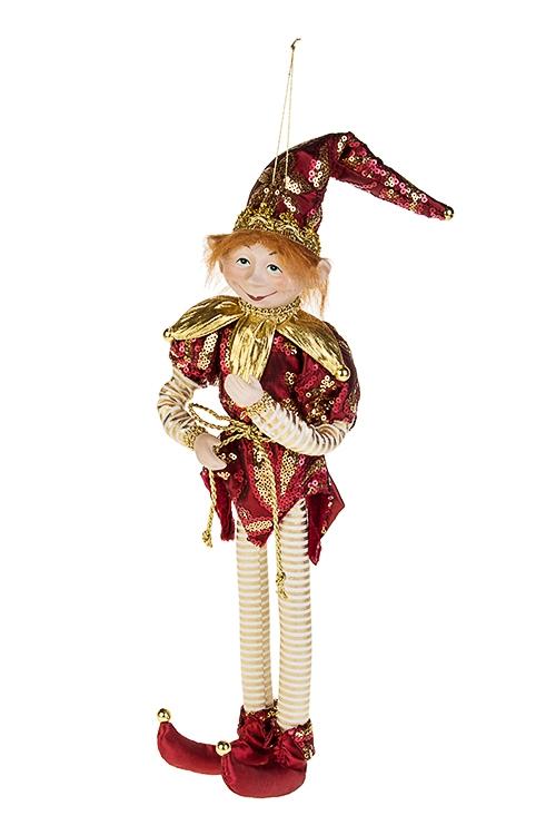 Украшение для интерьера Волшебный АрлекинИгрушки и куклы<br>Выс=40см, текстиль, фарфор, борд.-золот., подвесное<br>