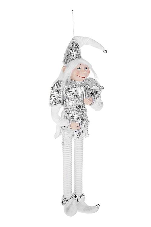 Украшение для интерьера Волшебный АрлекинИгрушки и куклы<br>Выс=40см, текстиль, фарфор, бело-серебр. , подвесное<br>
