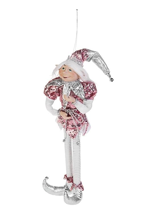 Украшение для интерьера Волшебный АрлекинИгрушки и куклы<br>Выс=40см, текстиль, фарфор, розово-серебр., подвесное<br>