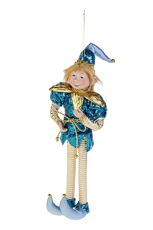Украшение для интерьера Волшебный АрлекинИгрушки и куклы<br>Выс=40см, текстиль, фарфор, голубо.-золот., подвесное<br>