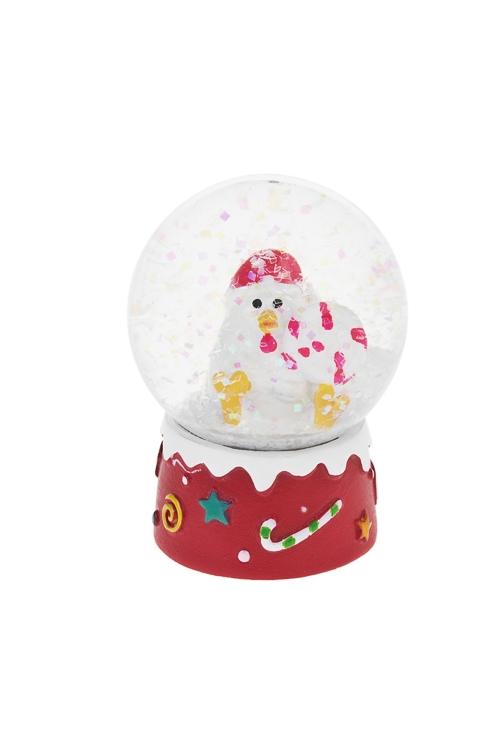 Шар со снегом Счастливый цыпаФигурки на Новый Год<br>Выс=6.5см, полирезин, стекло<br>