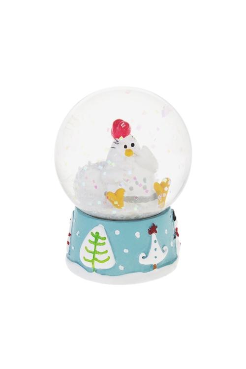 Шар со снегом Зимняя цыпаНовогодние сувениры<br>Выс=6.5см, полирезин, стекло<br>