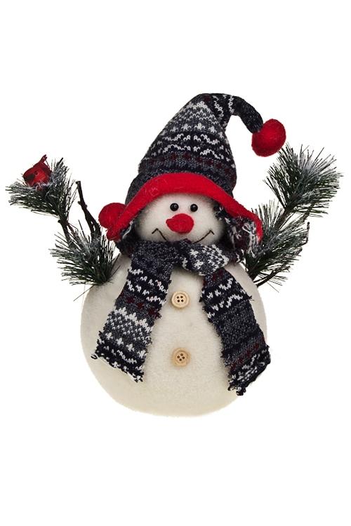 Украшение новогоднее Снеговик с птичкойПодарки<br>Выс=23см, пенопласт, текстиль<br>
