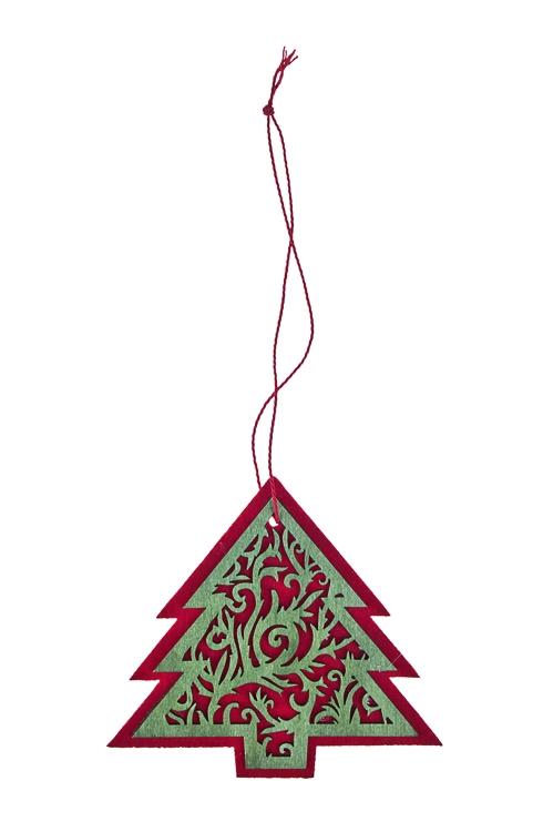 Украшение новогоднее Милая елочкаПодарки<br>Выс=10см, дерево, фетр, красно-зеленое, подвесное<br>
