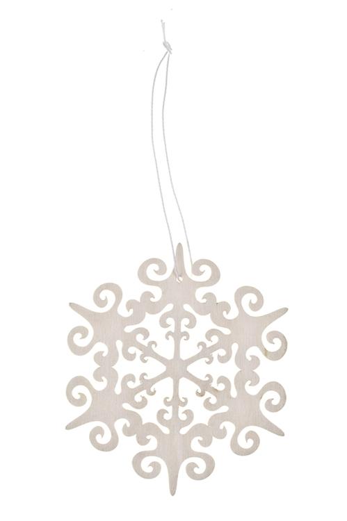 Украшение новогоднее Волшебная снежинкаД=12см, дерево, подвесное (4 вида)<br>