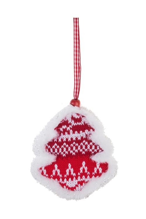 Украшение новогоднее Норвежская елкаПодарки на Новый год 2018<br>Выс=9см, текстиль, красно-белое, подвесное<br>