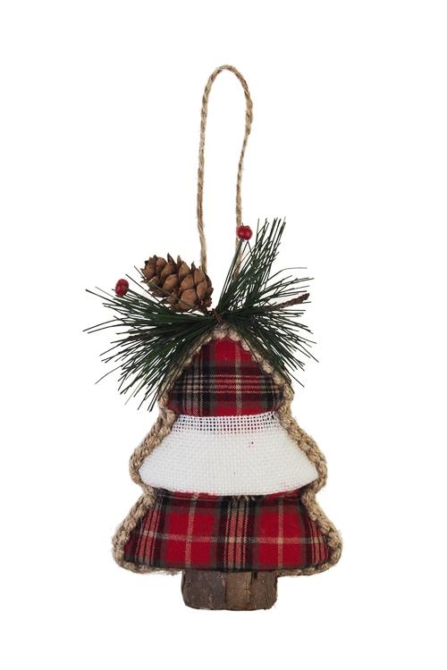 Украшение новогоднее Клетчатая елкаЕлочные игрушки<br>Выс=13см, текстиль, пенопласт, подвесное<br>