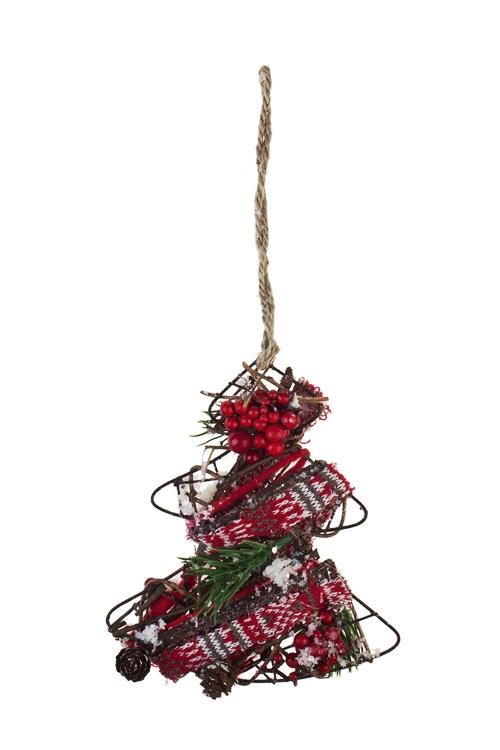 Украшение новогоднее ЕлочкаЕлочные игрушки<br>Выс=16см, текстиль, металл, подвесное<br>
