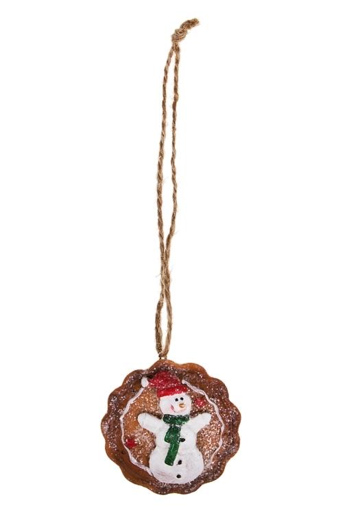 Украшение новогоднее Имбирное печеньеПодарки<br>Д=5.5см, полирезин, беж., подвесное (5 видов)<br>