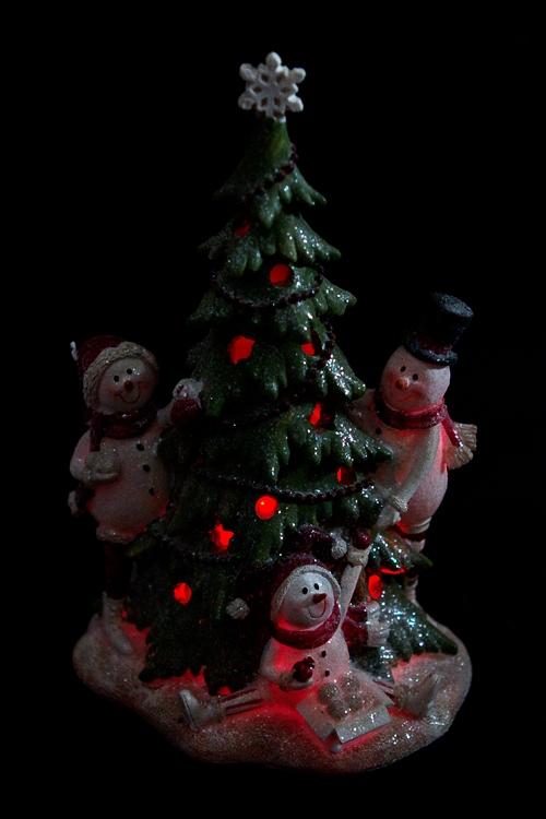 """Украшение новогоднее светящееся """"Снеговики у елки"""" - 4"""