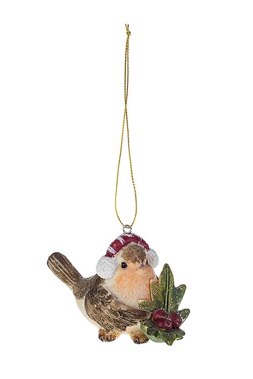 Украшение новогоднее СнегирьСувениры и упаковка<br>11*6*8, полирезин, коричн.-крем.-красное, подвесное (3 вида)<br>