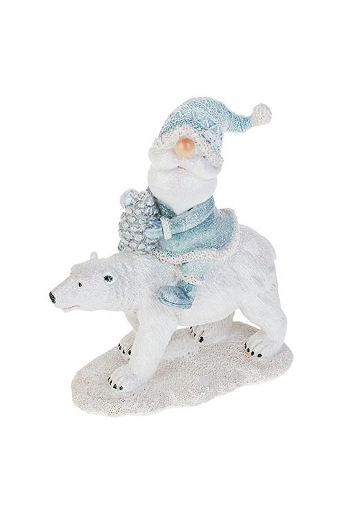Фигурка новогодняя Дед Мороз на полярном мишкеФигурки<br>11*6*14см, полирезин, бело-голубая<br>