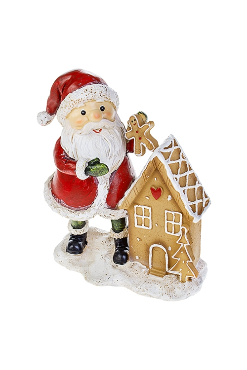 Фигурка новогодняя Веселый Дед МорозФигурки<br>10*6*14см, полирезин, красно-бело-коричн. (2 вида)<br>
