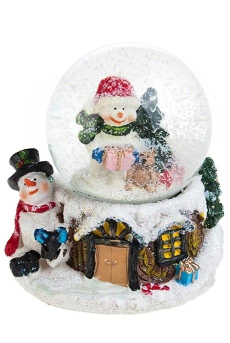 Сувенир Снеговик в шареСувениры и упаковка<br>Сувенир новогодний Снеговик в шаре, Выс=9.5см, полирезин, стекло<br>