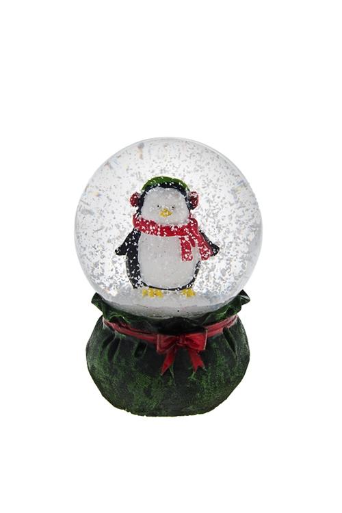 Украшение для интерьера Шар - Пингвин в наушникахНовогодние сувениры<br>Выс=6.5см, полирезин, стекло<br>