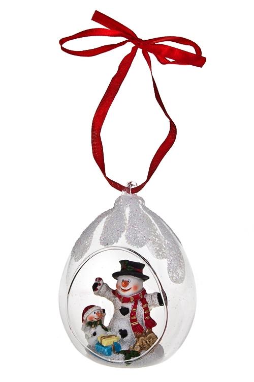 Украшение новогоднее Снеговик с подаркамиЕлочные шары<br>Выс=11см, полирезин, стекло, подвесное<br>