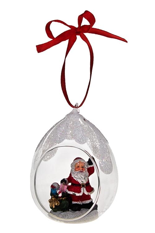 Украшение новогоднее Дед МорозПодарки<br>Выс=11см, полирезин, стекло, подвесное<br>