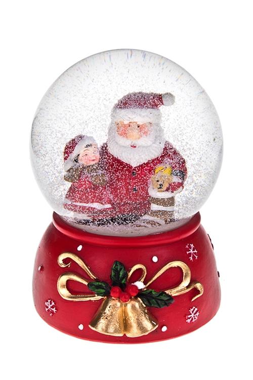 Украшение новогоднее музыкальное Шар - Дед Мороз с малышкойНовогодние сувениры<br>Выс=14см, полирезин, стекло<br>