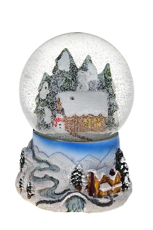 """Украшение новогоднее светящ. и музык. """"Шар - Домик в лесу"""" - 1"""