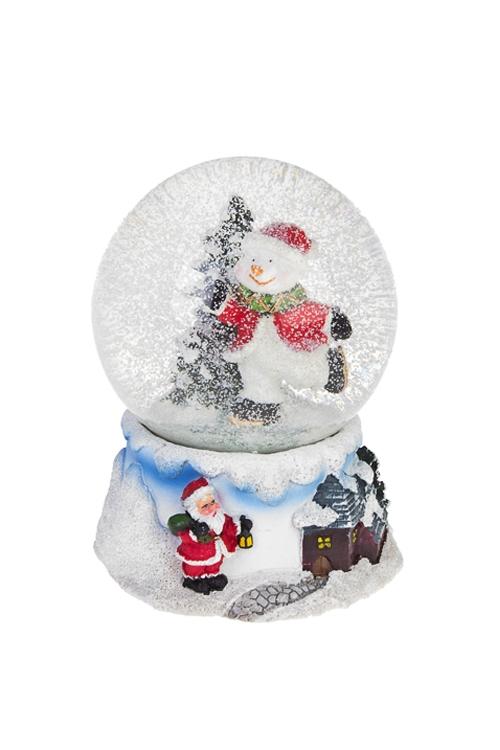 Украшение новогоднее музыкальное Шар - Снеговик на каткеСувениры и упаковка<br>Выс=14см, полирезин, стекло<br>