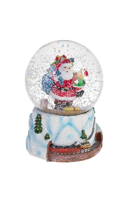 """Украшение новогоднее музыкальное """"Шар - Дед Мороз с мешком подарков"""""""
