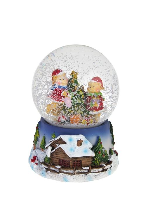 Украшение новогоднее музыкальное Шар - Мишки у елкиСувениры и упаковка<br>Выс=14см, полирезин, стекло<br>
