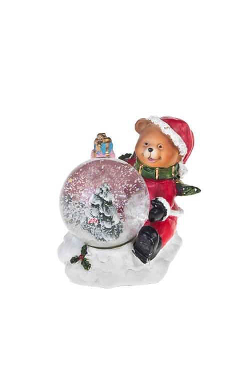 Шар со снегом Мишка с елочкойФигурки<br>7*6*8см, полирезин, стекло<br>
